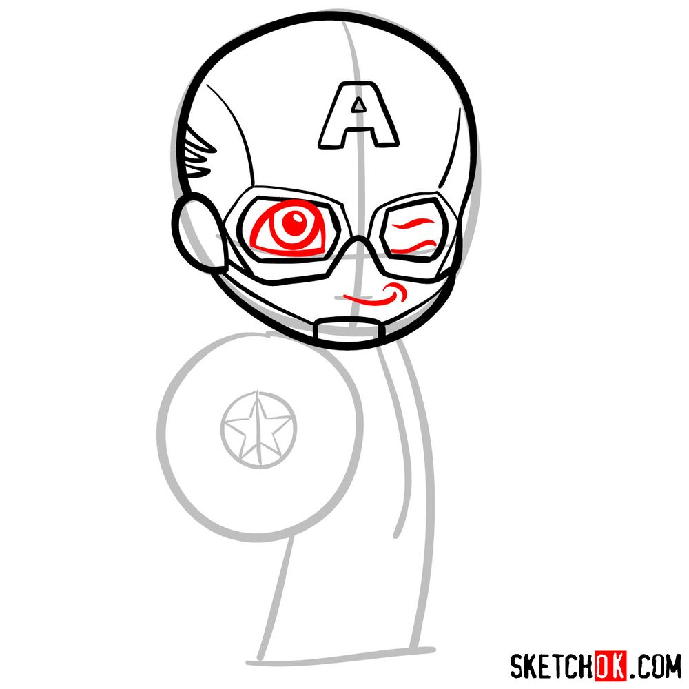 How to draw chibi Captain America - step 06