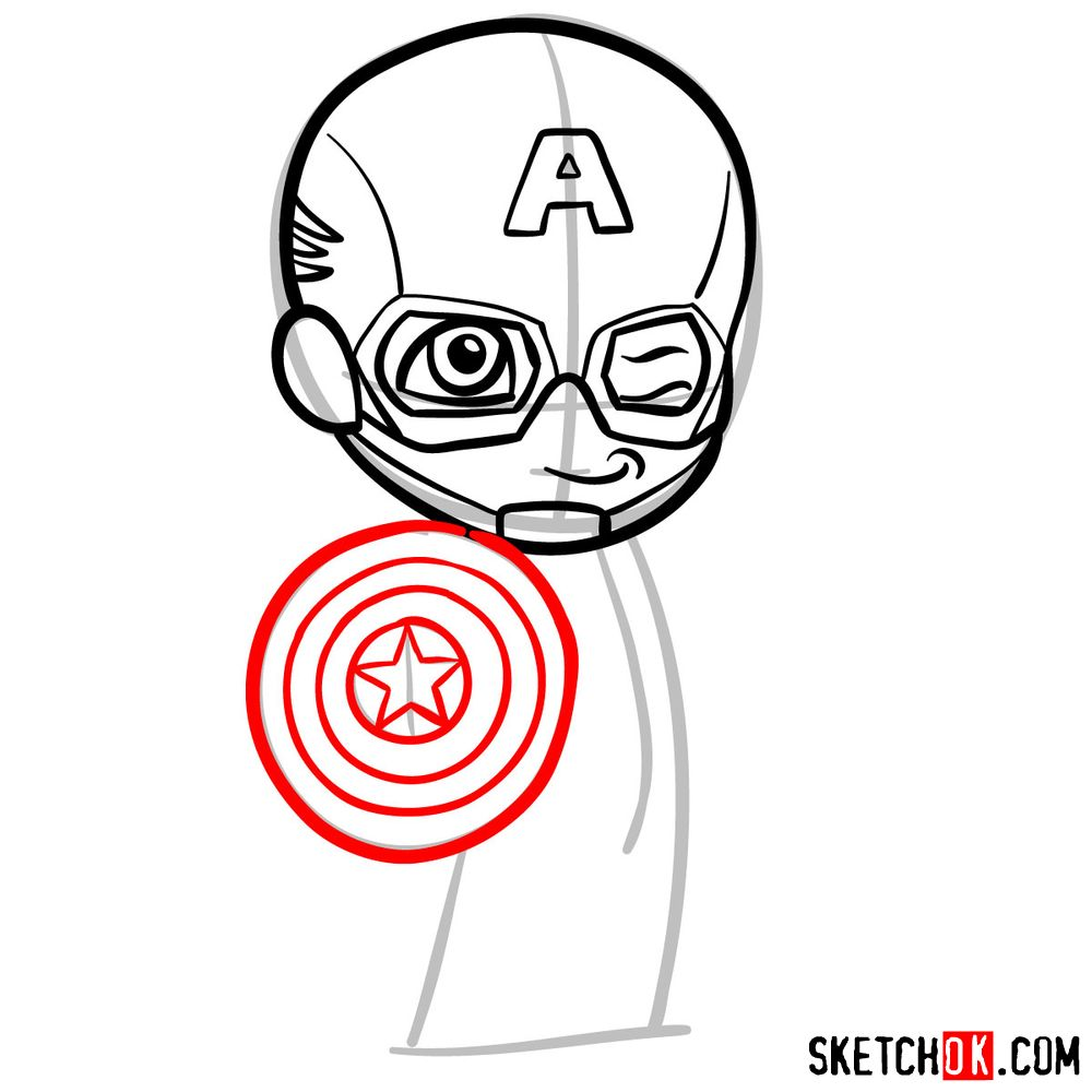 How to draw chibi Captain America - step 07