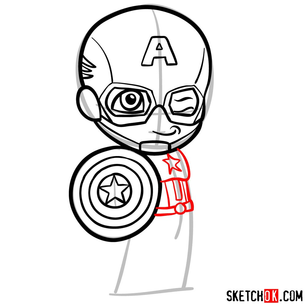 How to draw chibi Captain America - step 08