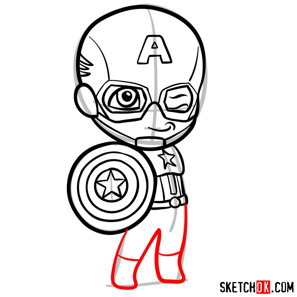 How to draw chibi Captain America - step 09