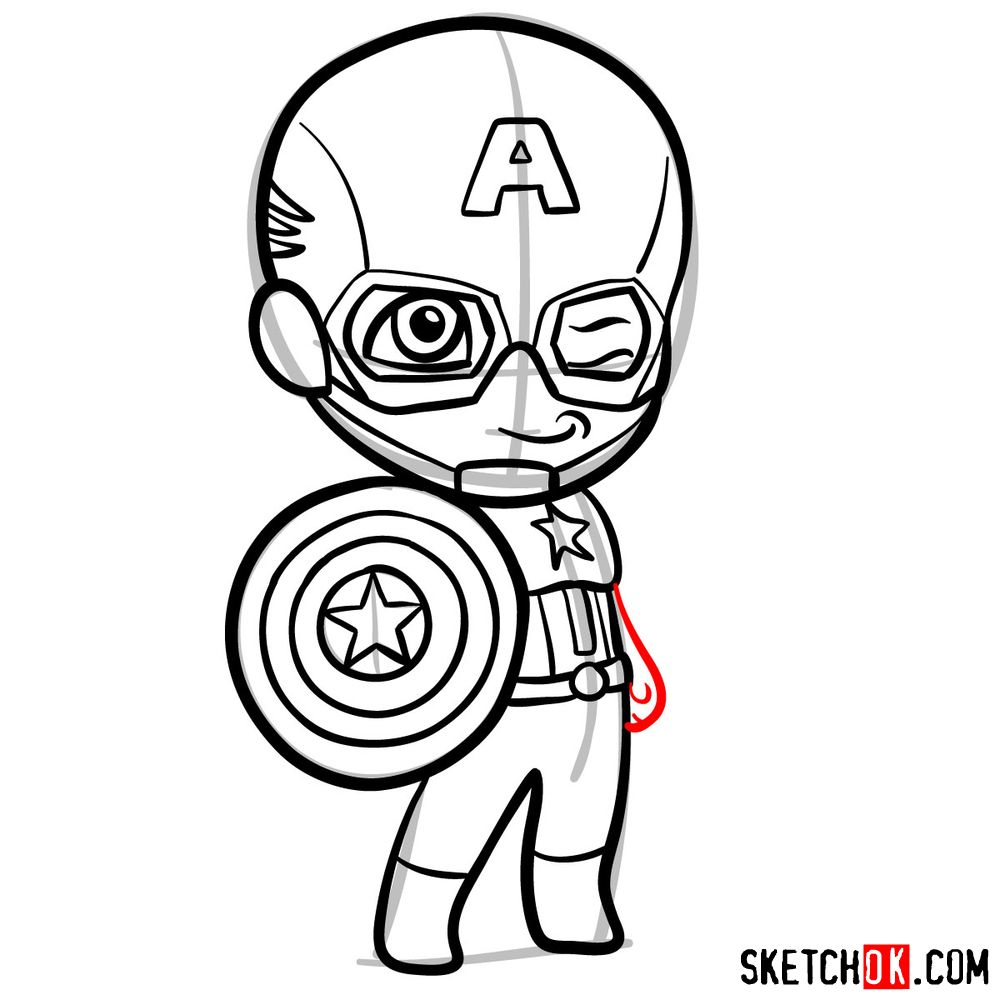 How to draw chibi Captain America - step 10