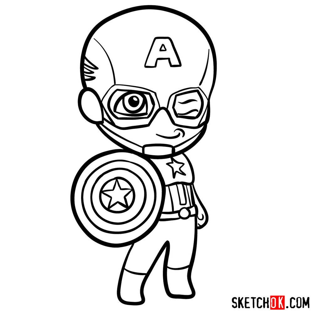 How to draw chibi Captain America - step 11