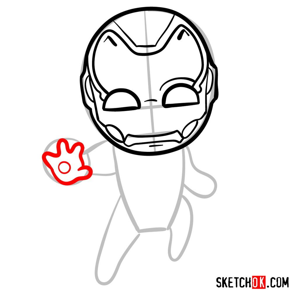 How to draw chibi Iron Man - step 06