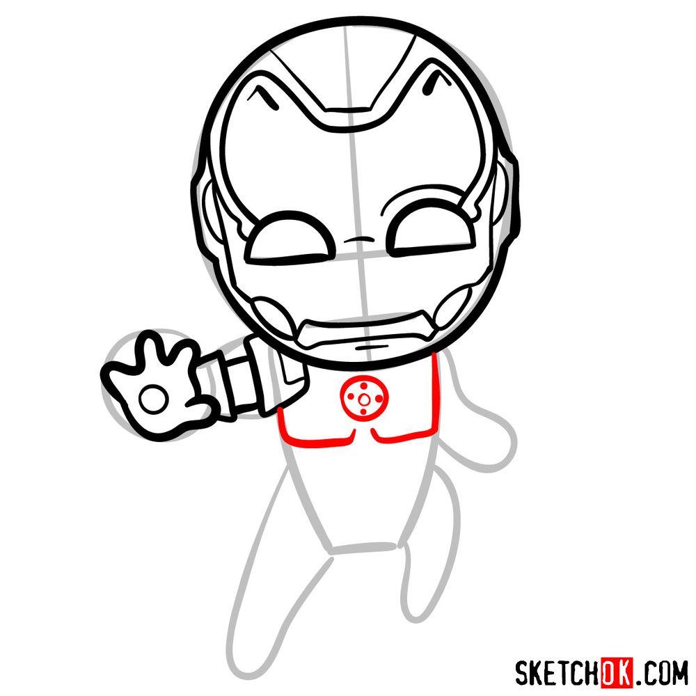 How to draw chibi Iron Man - step 08