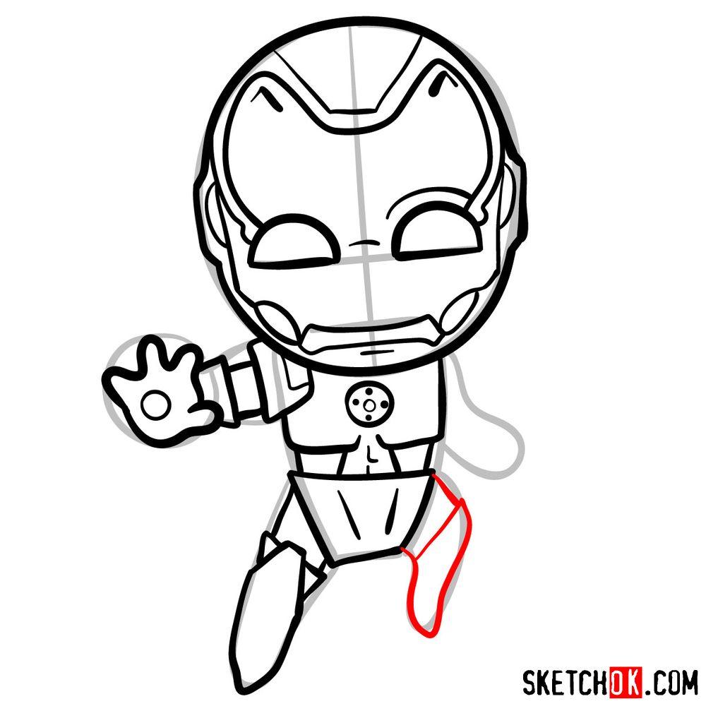 How to draw chibi Iron Man - step 11