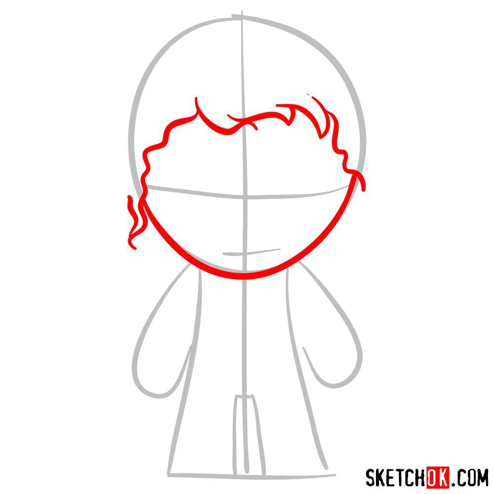 How to draw chibi Joker - step 03