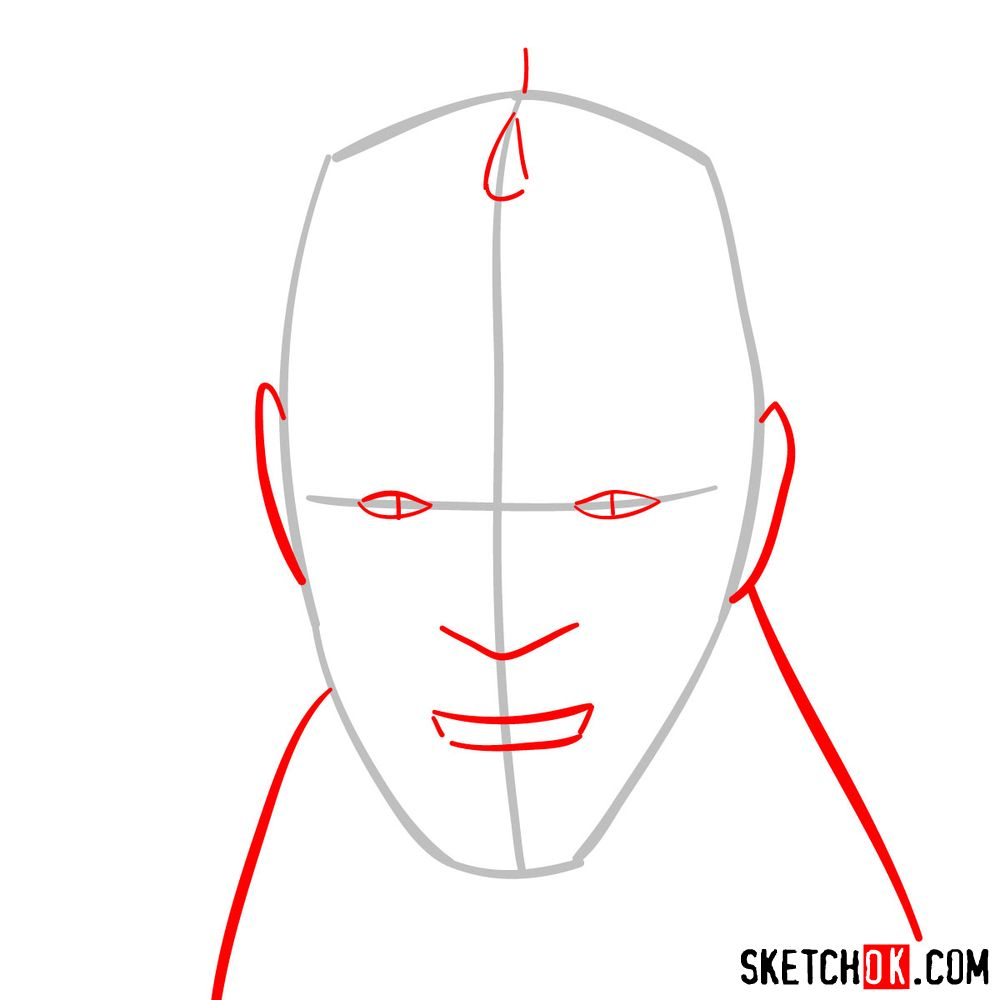How to draw Darth Maul's face | Star Wars - step 02