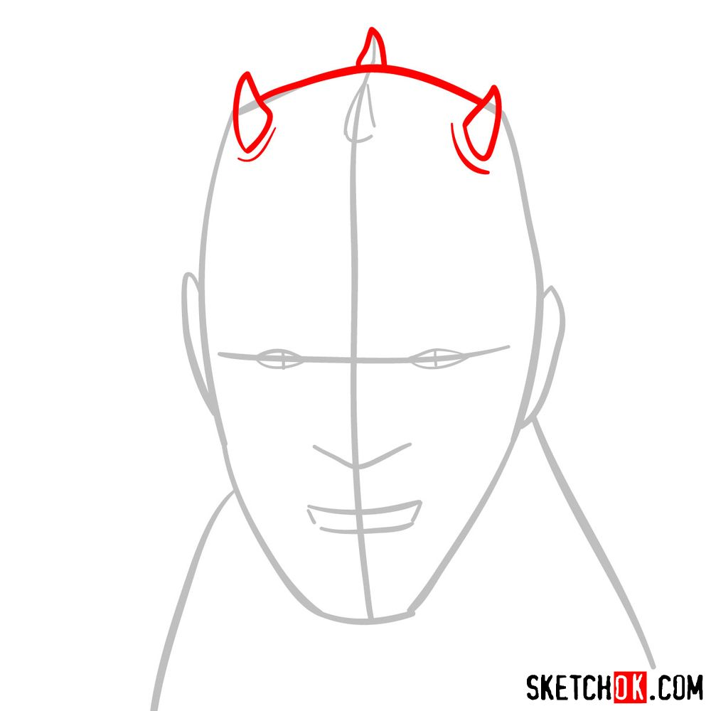 How to draw Darth Maul's face | Star Wars - step 03