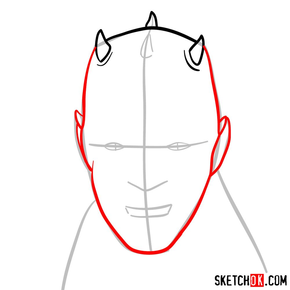 How to draw Darth Maul's face | Star Wars - step 04