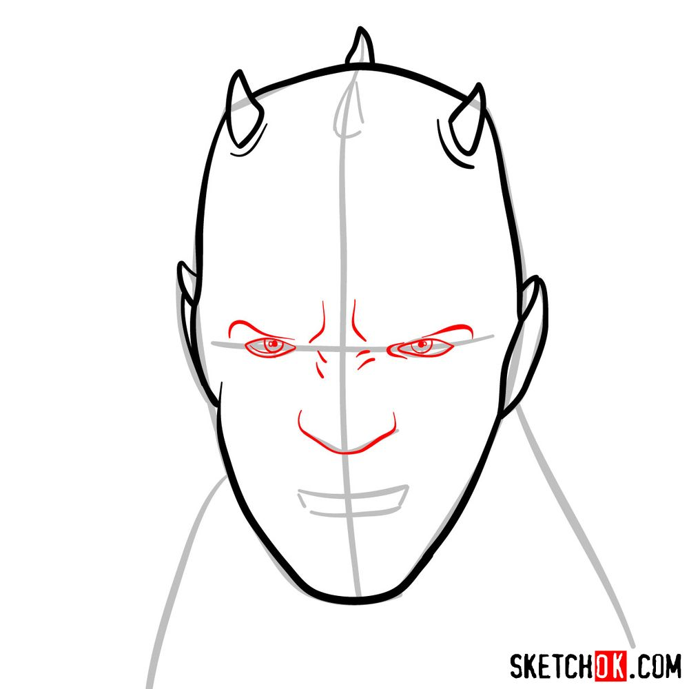 How to draw Darth Maul's face | Star Wars - step 05