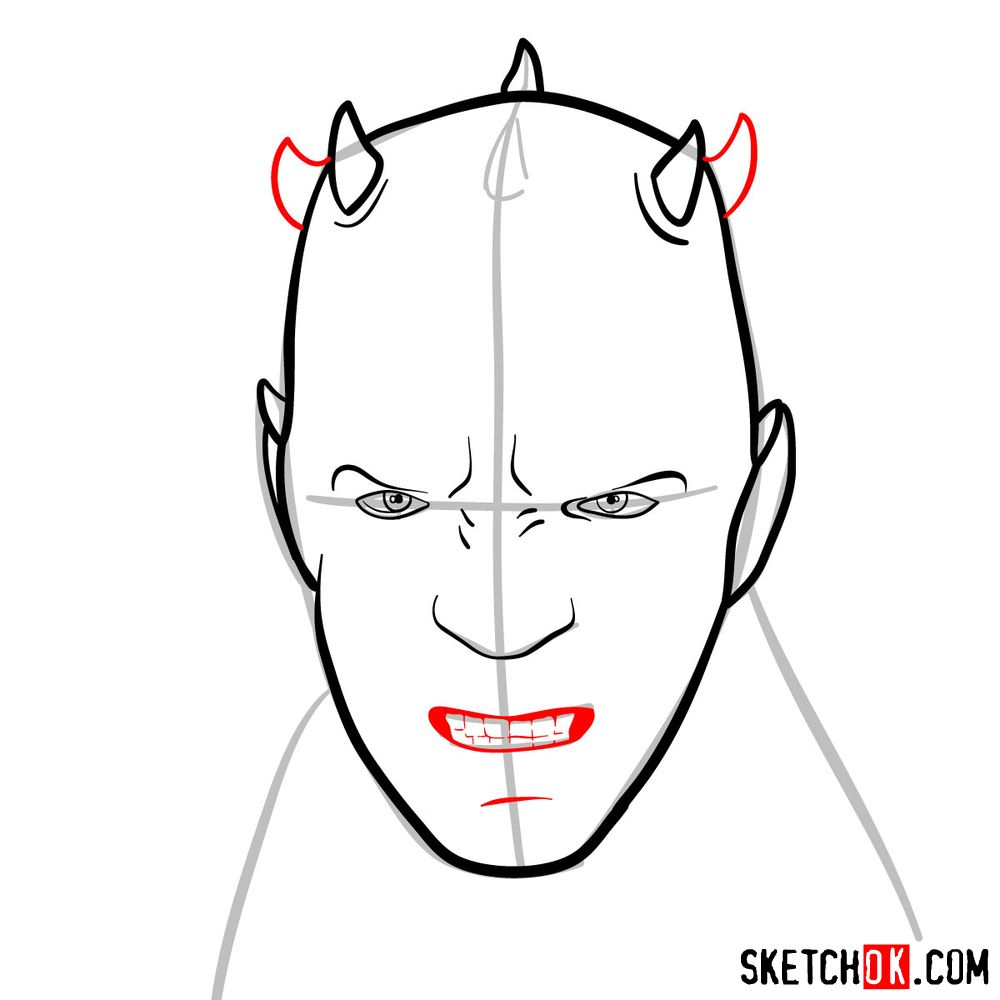 How to draw Darth Maul's face | Star Wars - step 06