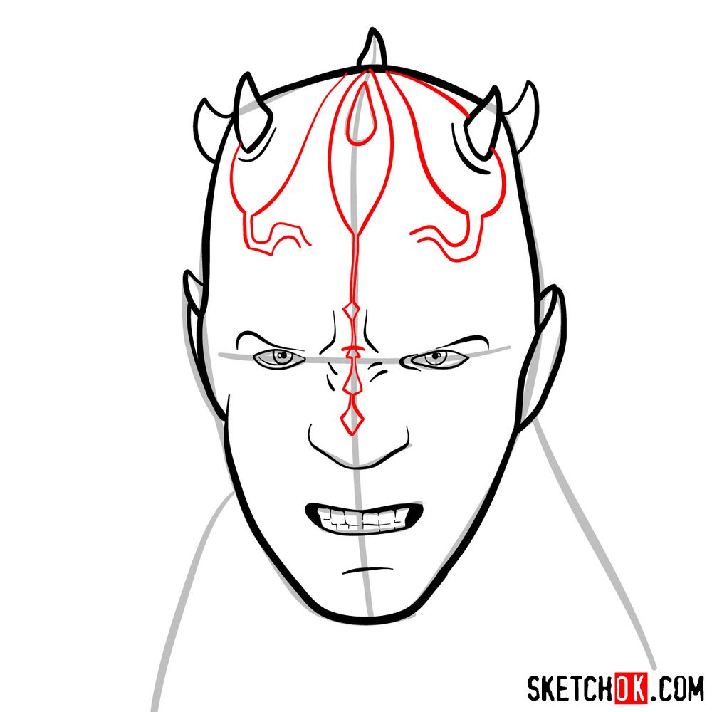 How to draw Darth Maul's face | Star Wars - step 07