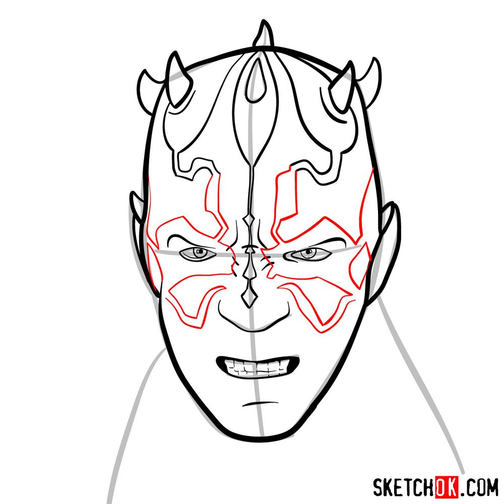 How to draw Darth Maul's face | Star Wars - step 08