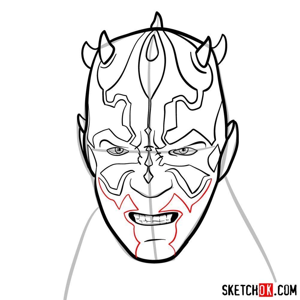 How to draw Darth Maul's face | Star Wars - step 09