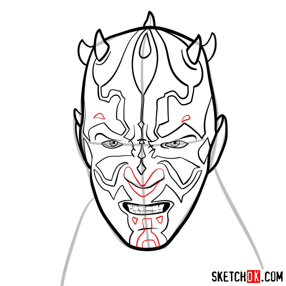 How to draw Darth Maul's face | Star Wars - step 10