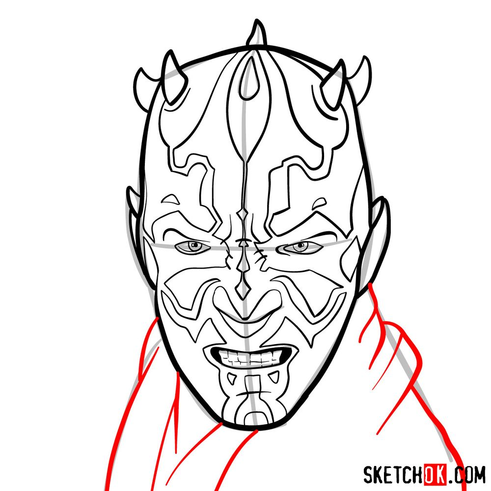 How to draw Darth Maul's face | Star Wars - step 11