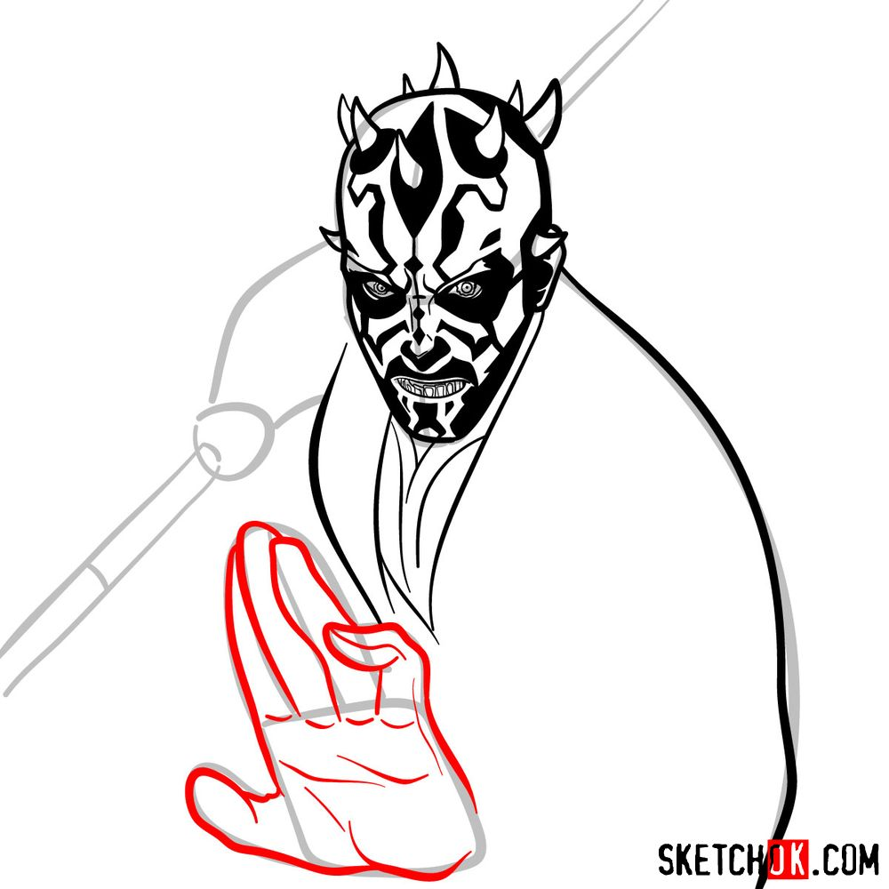 How to draw Darth Maul - step 12