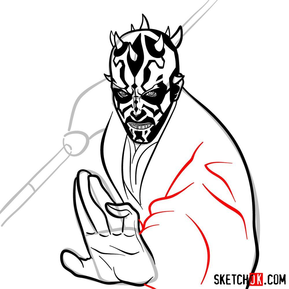 How to draw Darth Maul - step 13