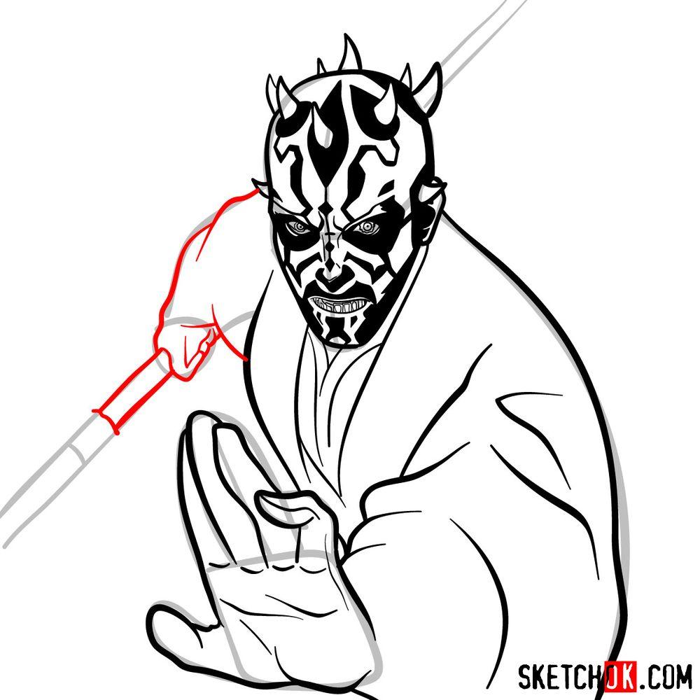 How to draw Darth Maul - step 14