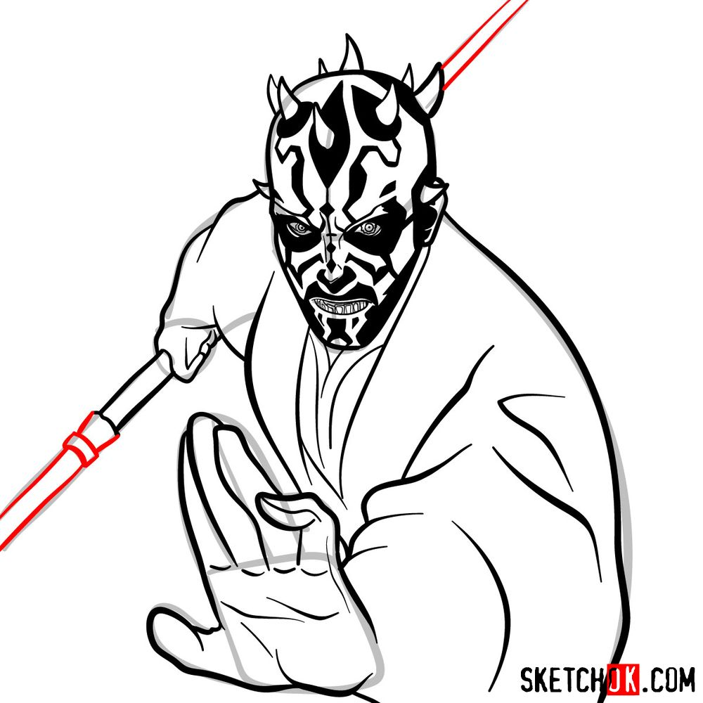 How to draw Darth Maul - step 15