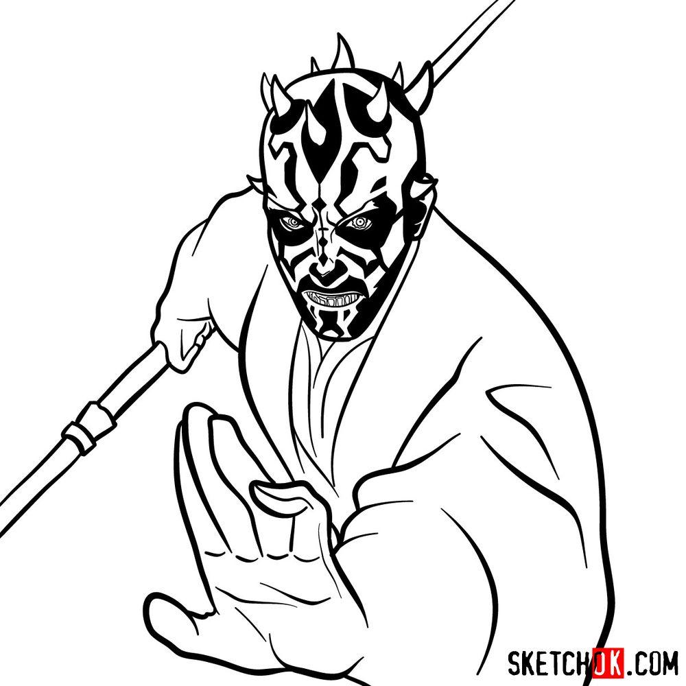 How to draw Darth Maul - step 16