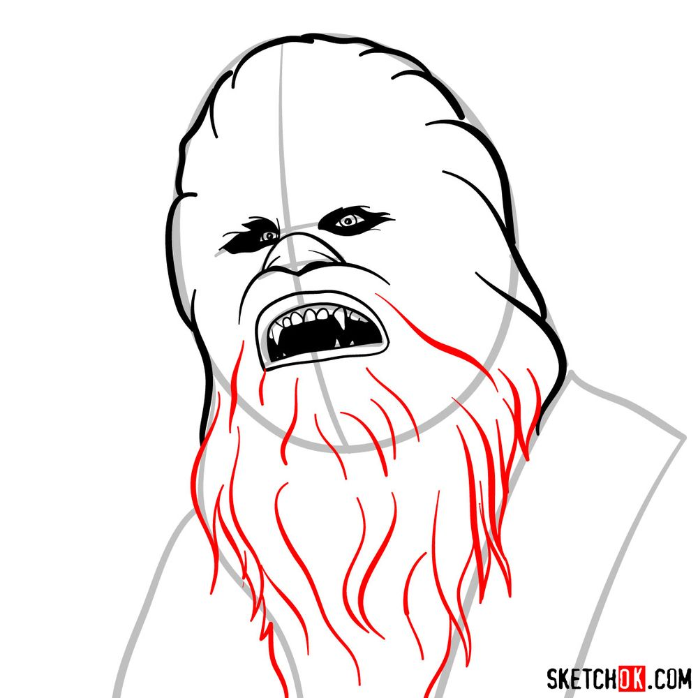 How to draw Chewbacca's face   Star Wars - step 06