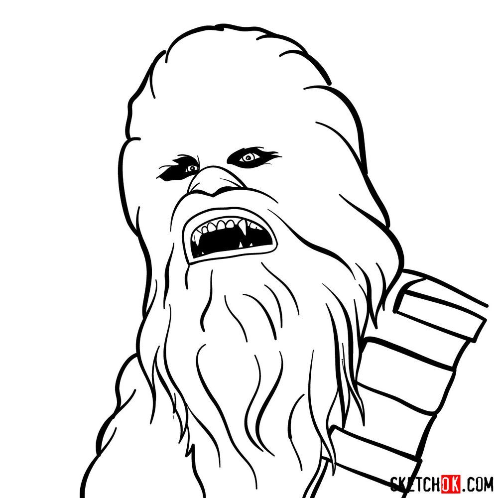 How to draw Chewbacca's face   Star Wars - step 08