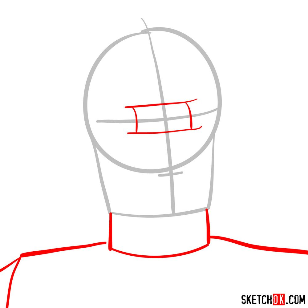 How to draw C3PO's face | Star Wars - step 02