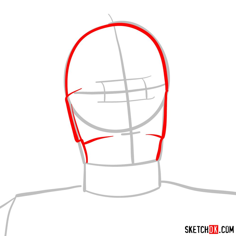 How to draw C3PO's face | Star Wars - step 03