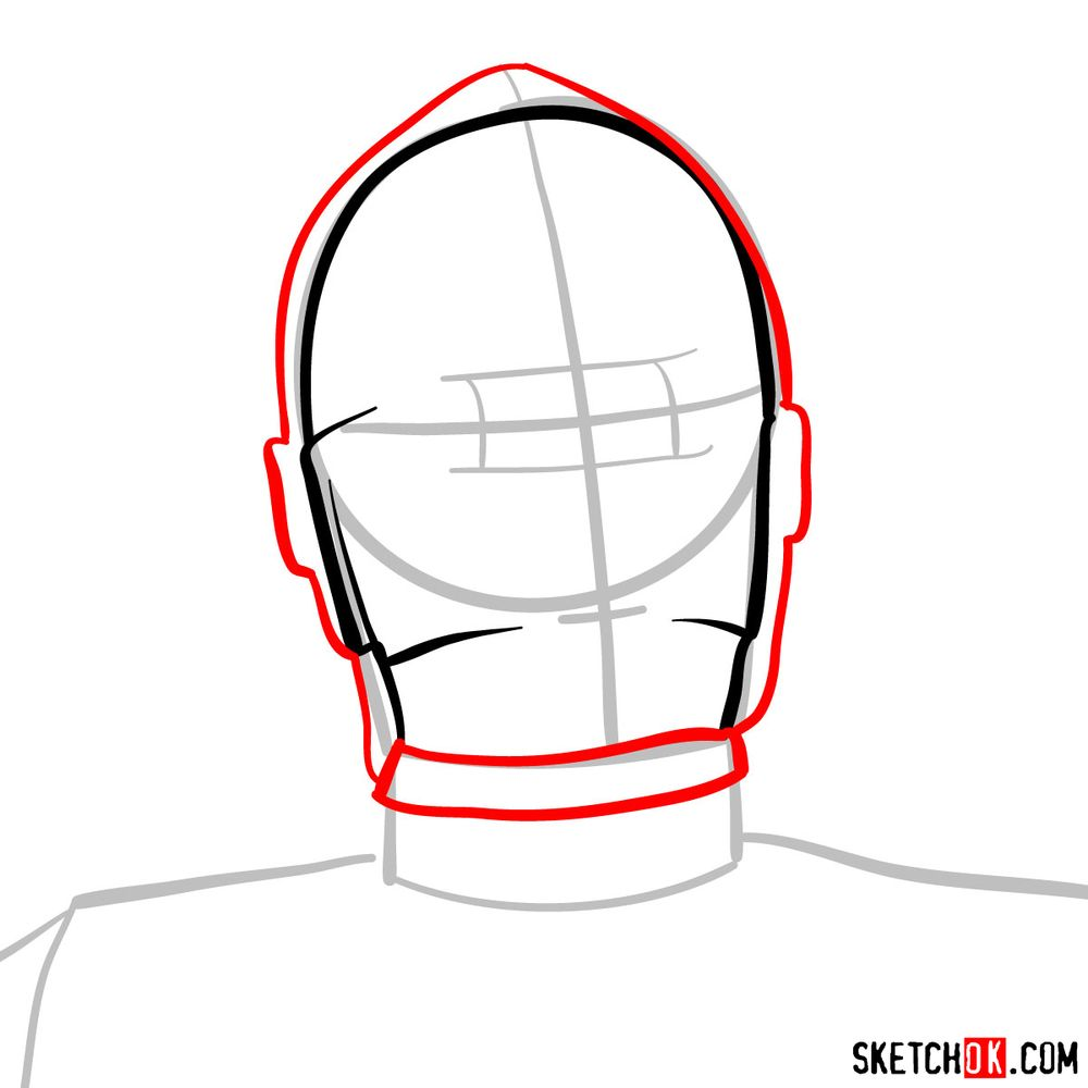 How to draw C3PO's face | Star Wars - step 04