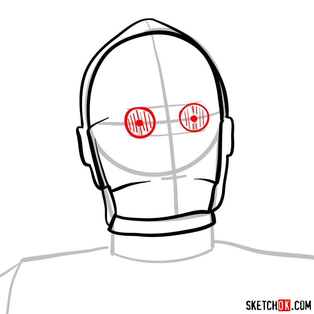 How to draw C3PO's face | Star Wars - step 05