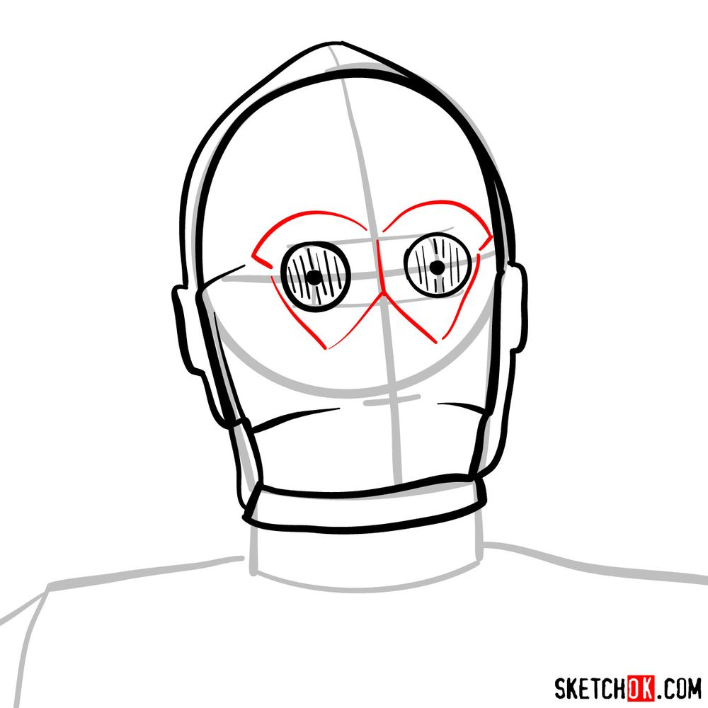 How to draw C3PO's face | Star Wars - step 06