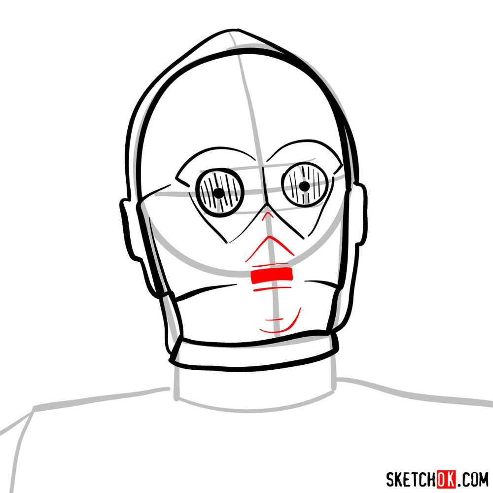 How to draw C3PO's face | Star Wars - step 07