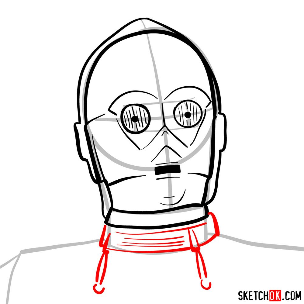 How to draw C3PO's face | Star Wars - step 08
