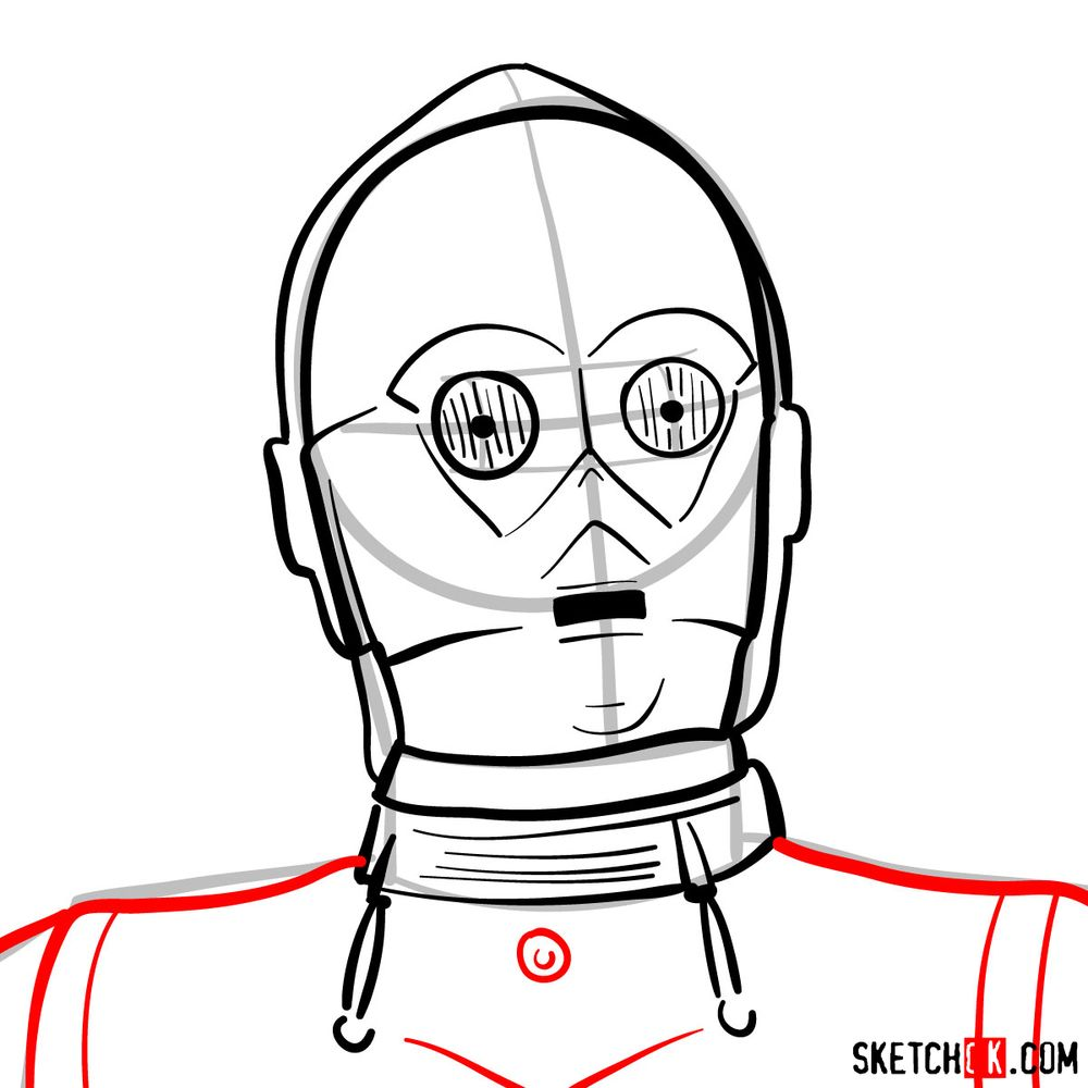 How to draw C3PO's face | Star Wars - step 09
