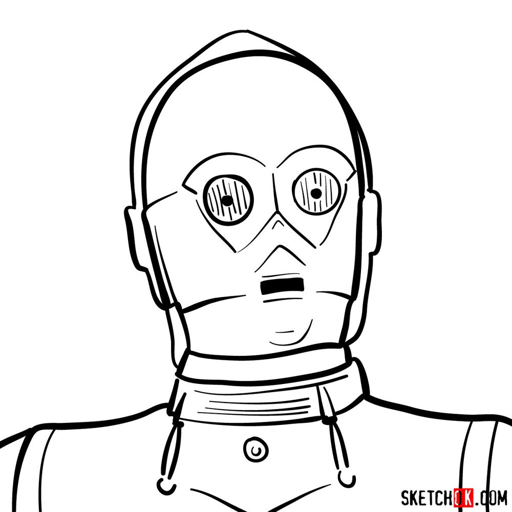 How to draw C3PO's face | Star Wars - step 10