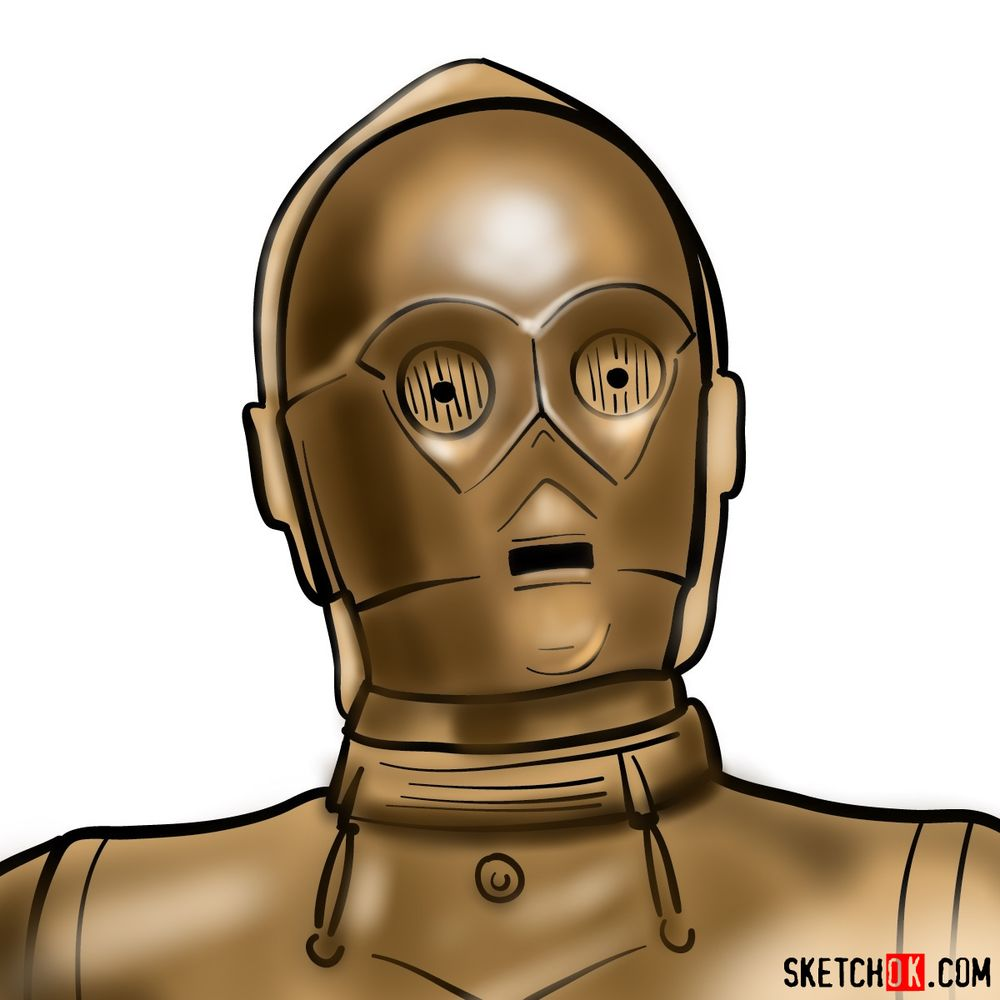 How to draw C3PO's face | Star Wars