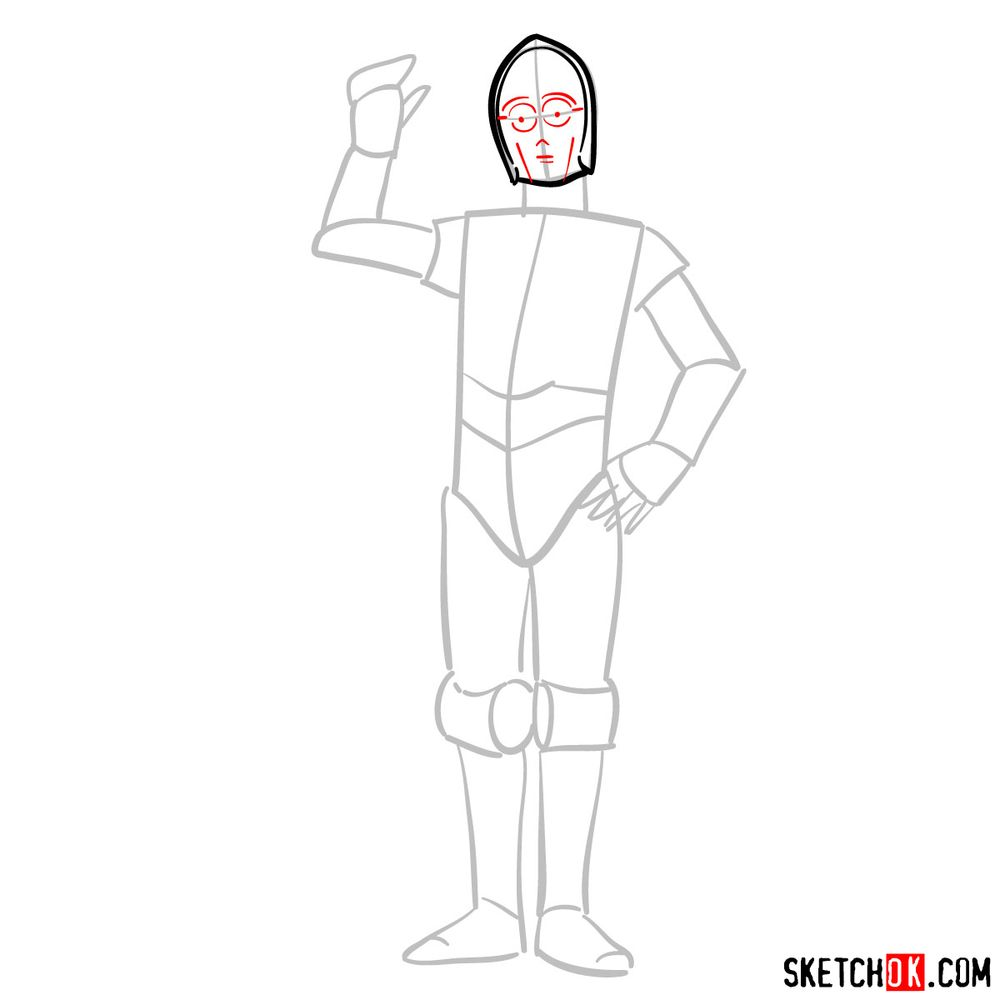How to draw C3PO - step 04