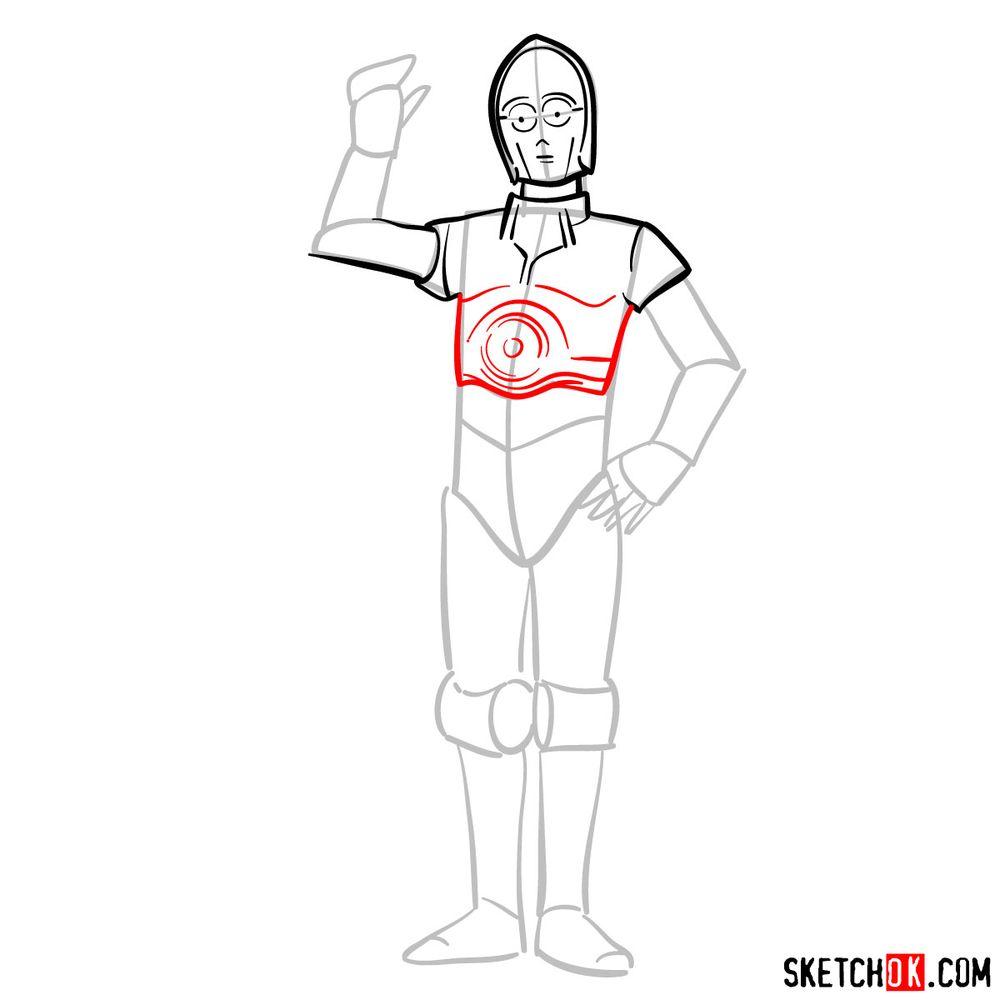 How to draw C3PO - step 07