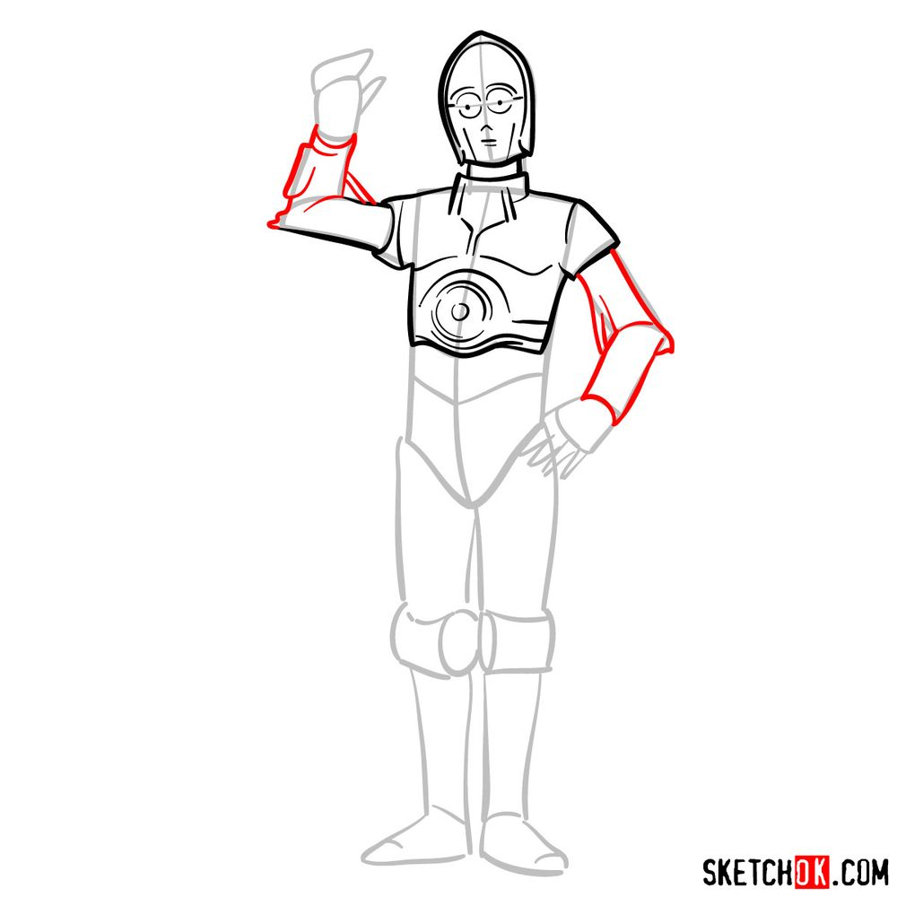 How to draw C3PO - step 08