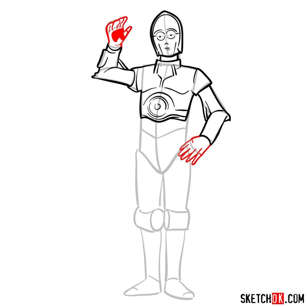 How to draw C3PO - step 09