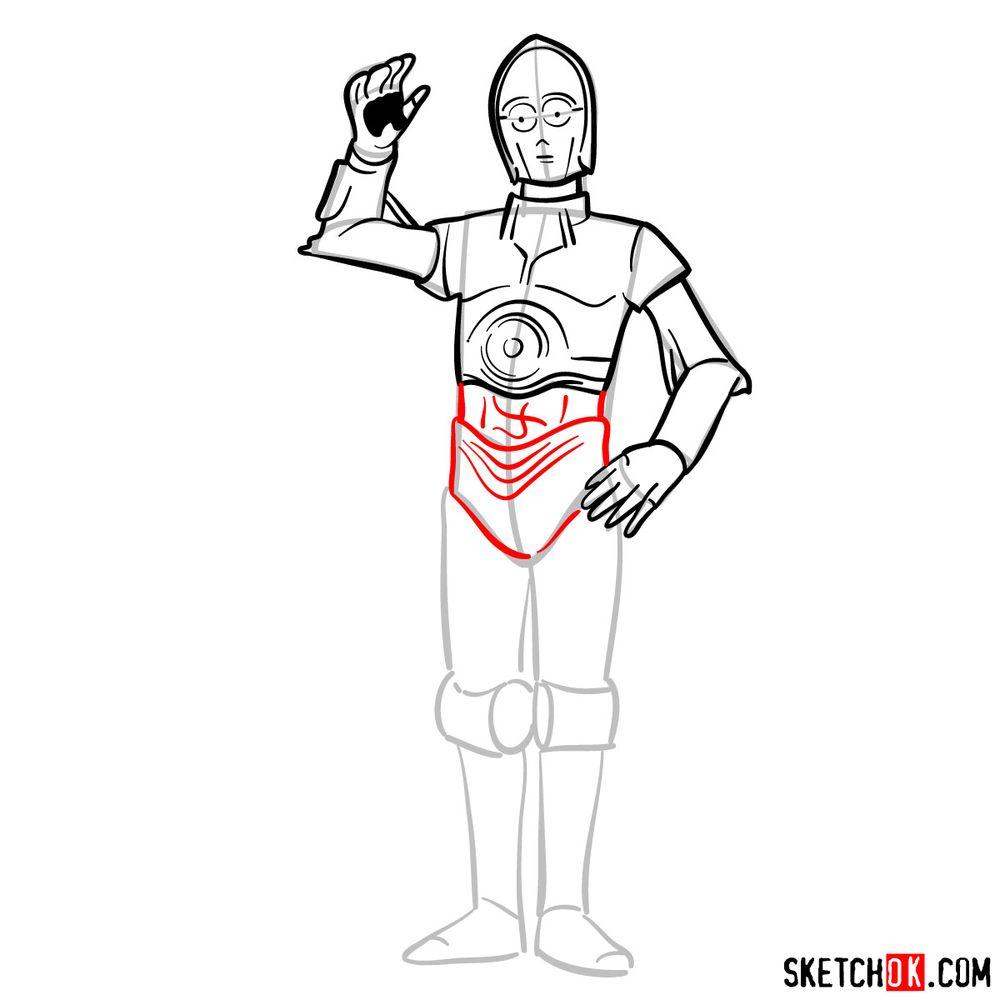 How to draw C3PO - step 10