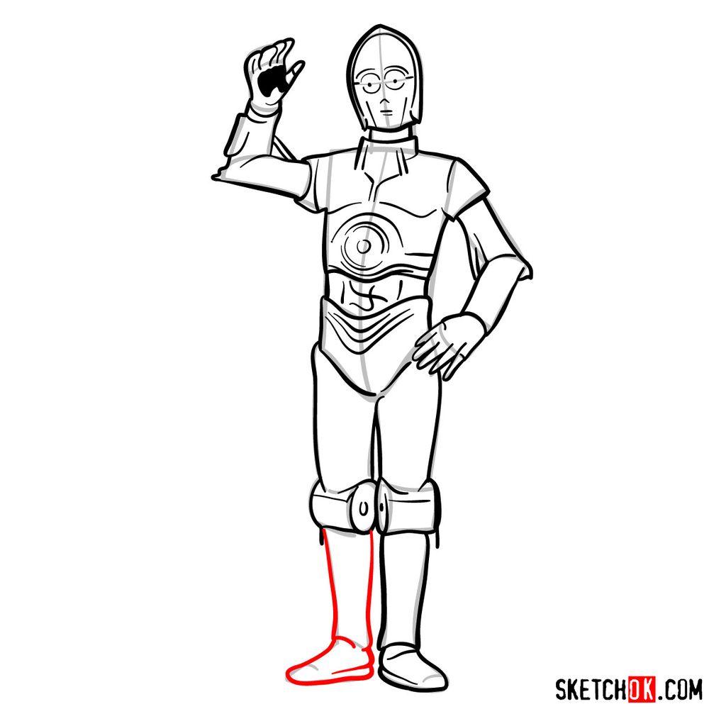 How to draw C3PO - step 14