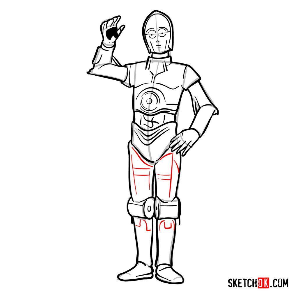 How to draw C3PO - step 15