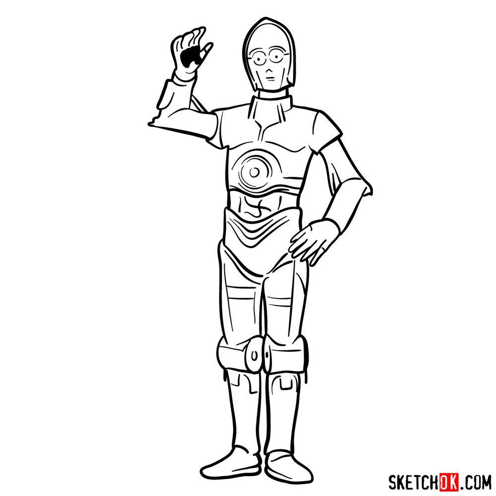 How to draw C3PO - step 16