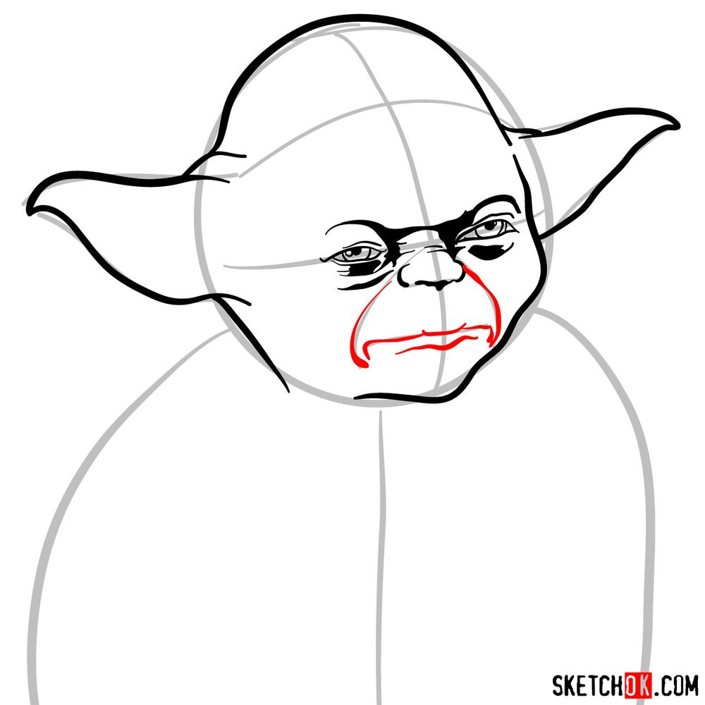 How to draw Yoda's face - step 07