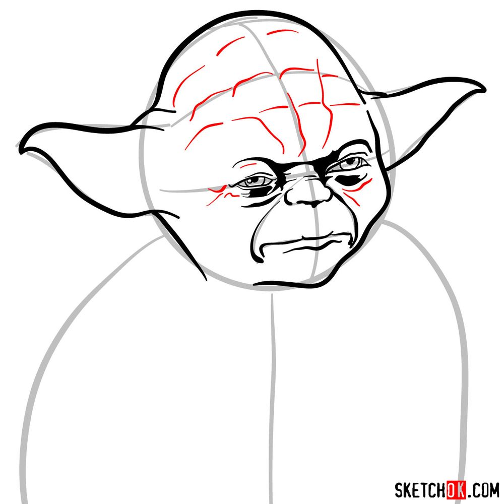 How to draw Yoda's face - step 08
