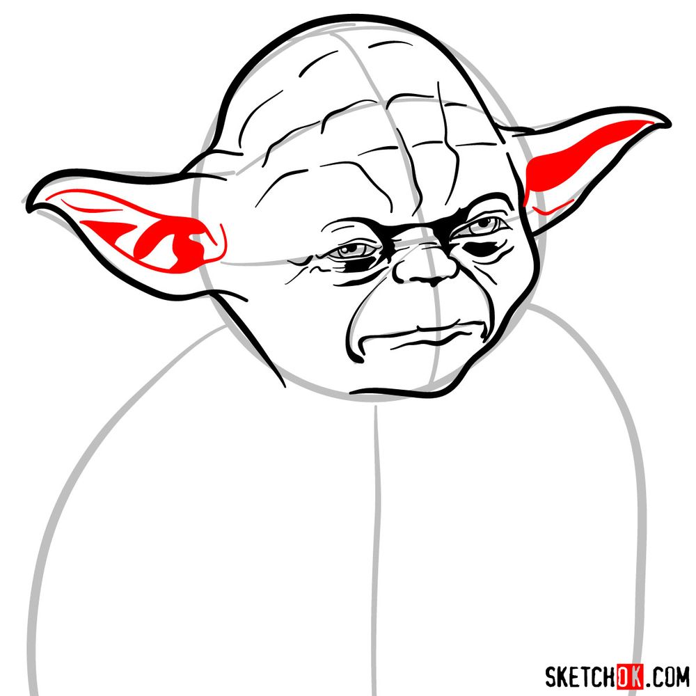How to draw Yoda's face - step 09