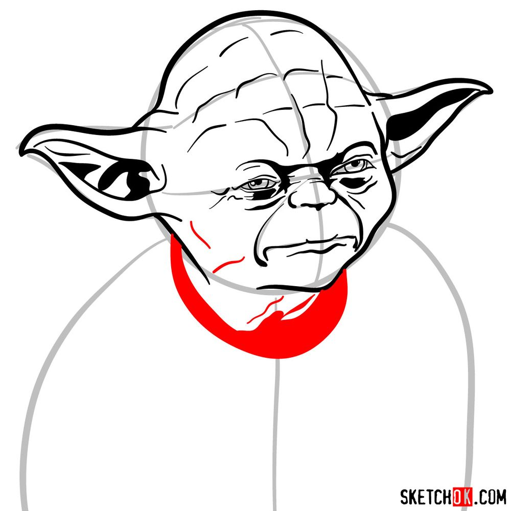 How to draw Yoda's face - step 10