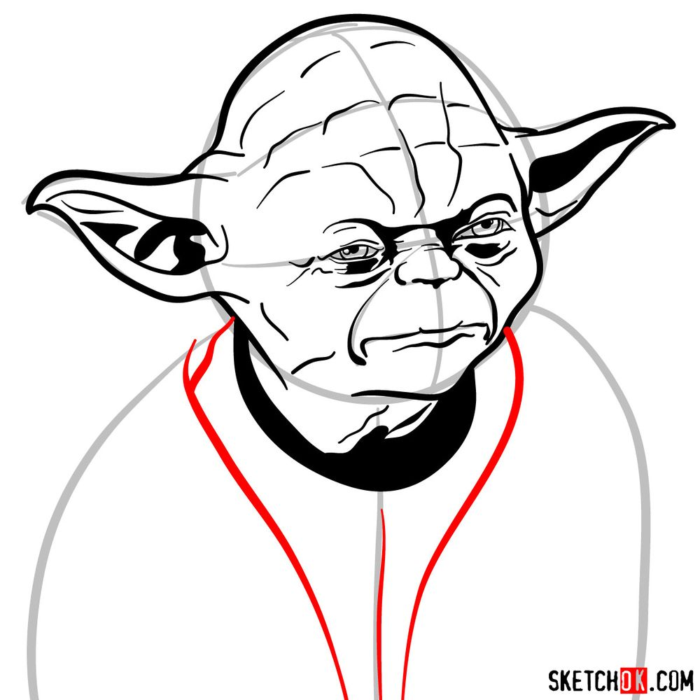 How to draw Yoda's face - step 11
